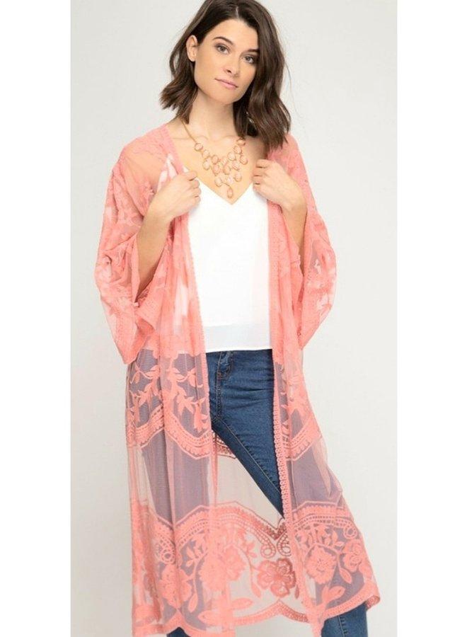 Crochet lace kimono