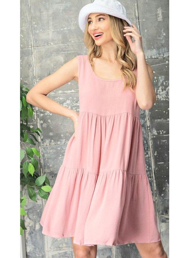 babydoll tiered linen dress