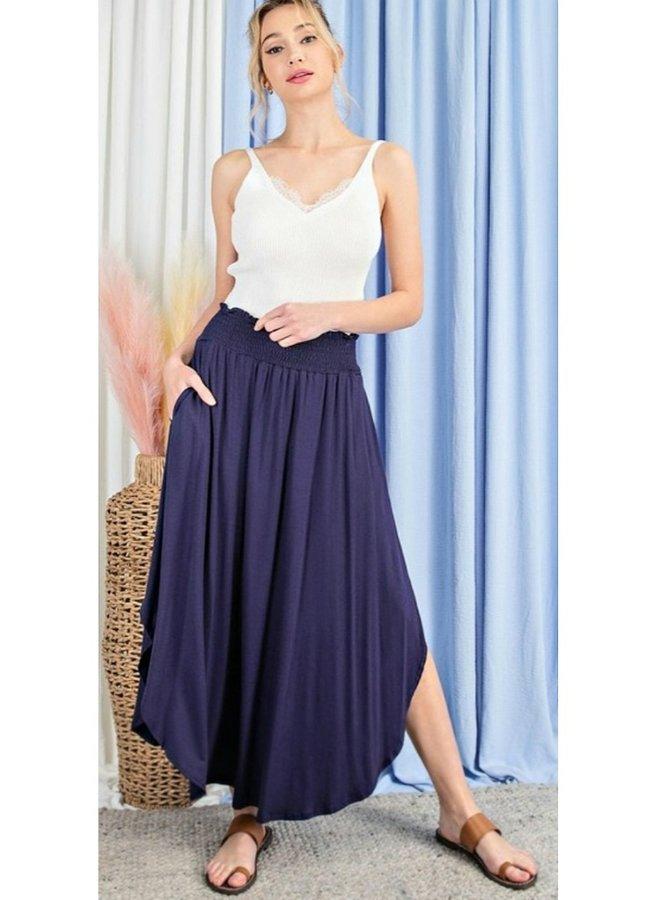 long  blue skirt