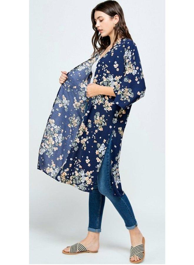 kimono navy with floral print