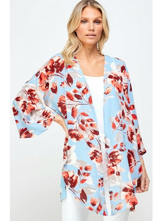 floral kimono in baby blue and red flowers