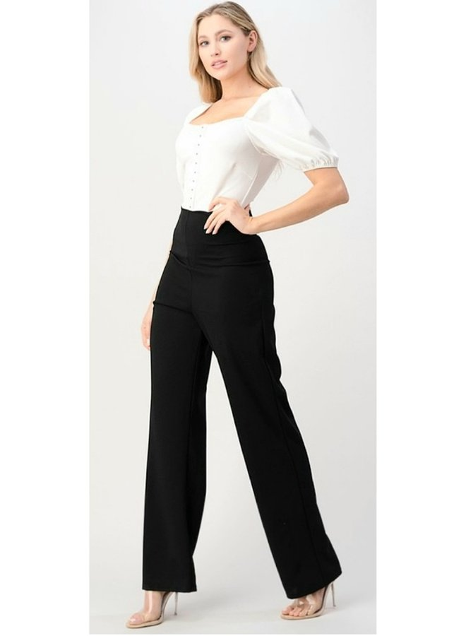 black and white puff shoulder jumpsuit