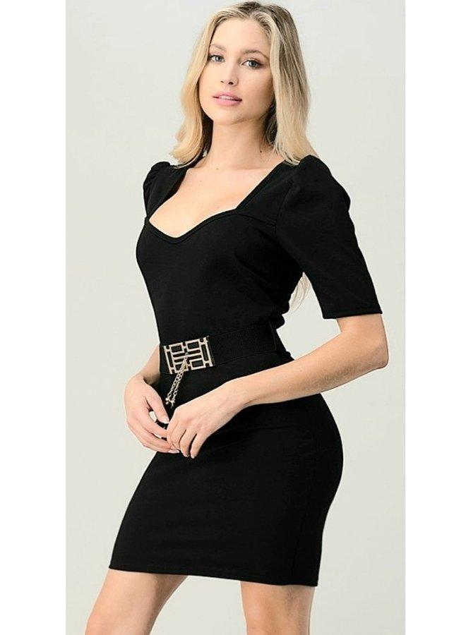 solid belted dress