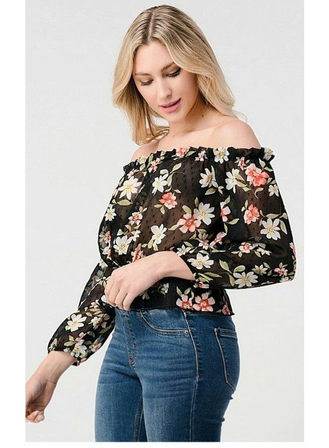 off shoulder sheer floral crop top