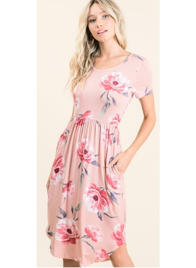 short sleeve  floral print midi dress