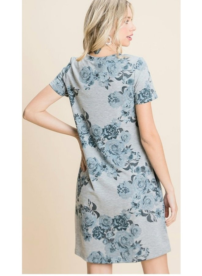 French Terry floral print dress