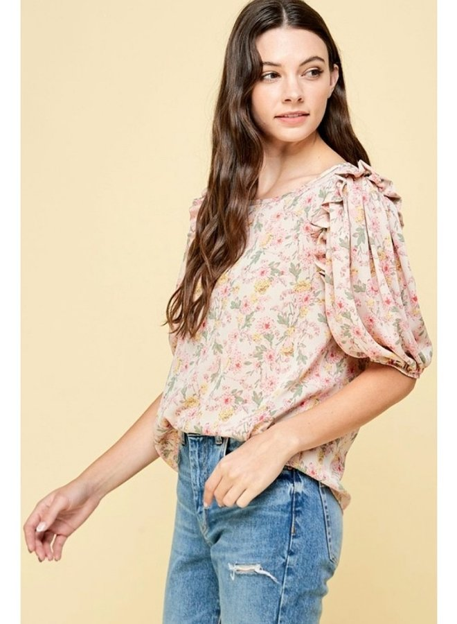Floral print ruffle blouse