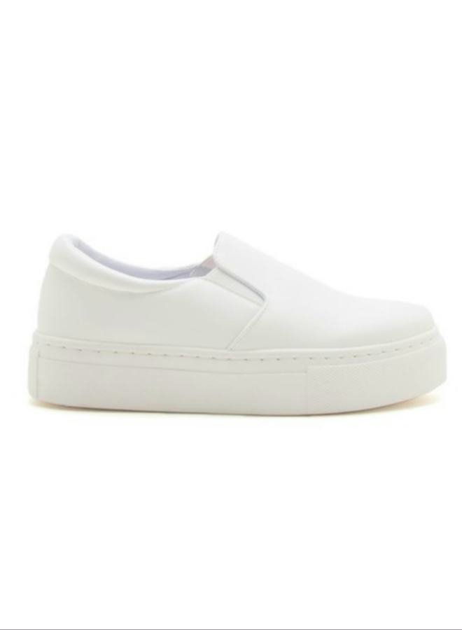 white PU leather  step in sneakers