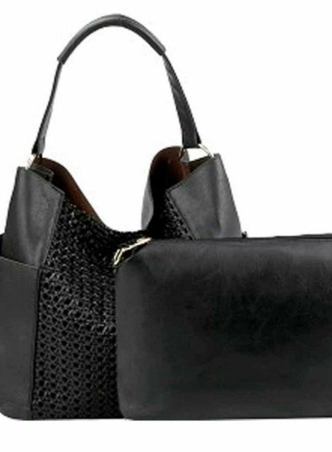 Straw 2 n 1 faux leather purse