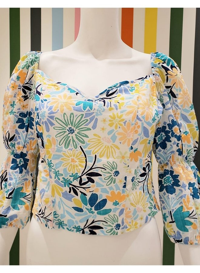 cotton floral crop top with tie in back