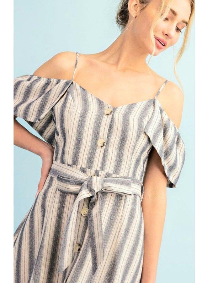 striped cold shoulder button down dress