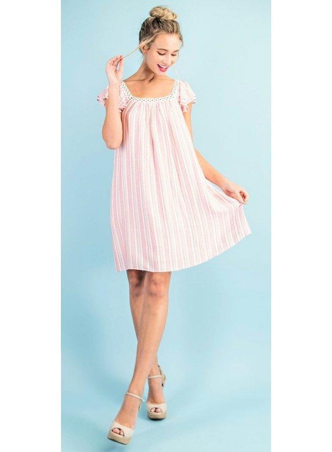 striped ruffle sleeve mini dress