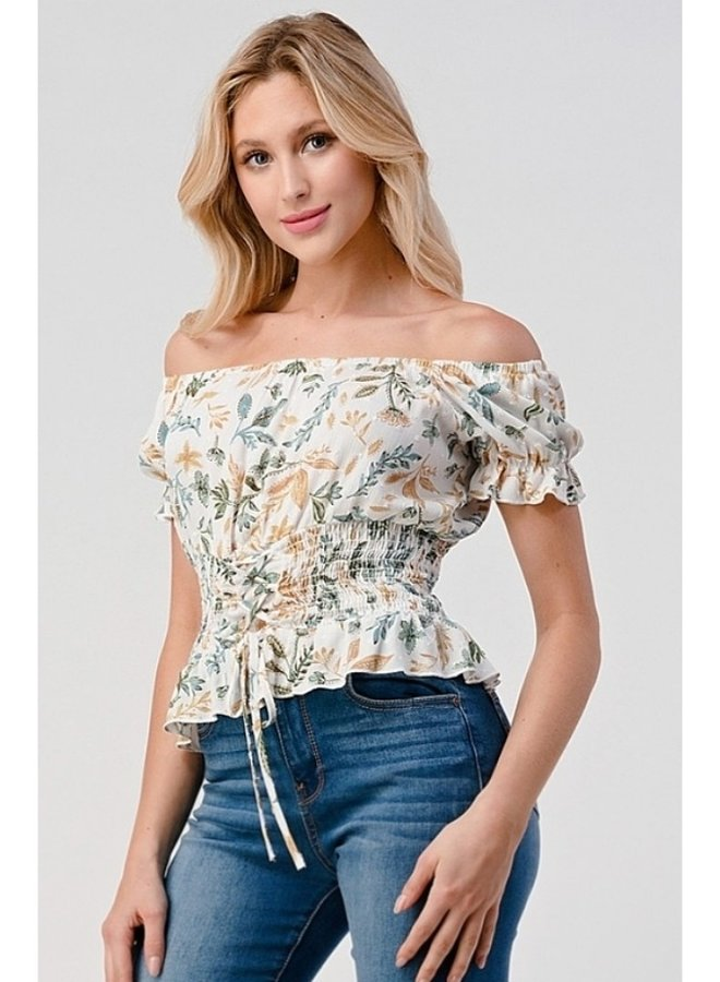 floral print lace up top