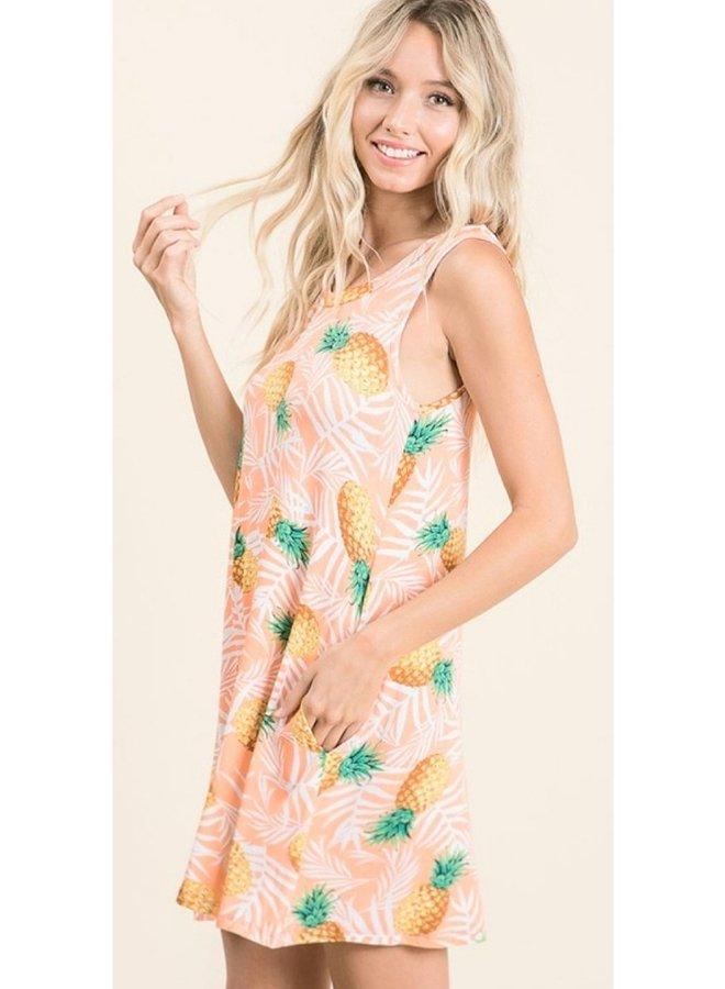 sleeveless pineapple print dress with pockets