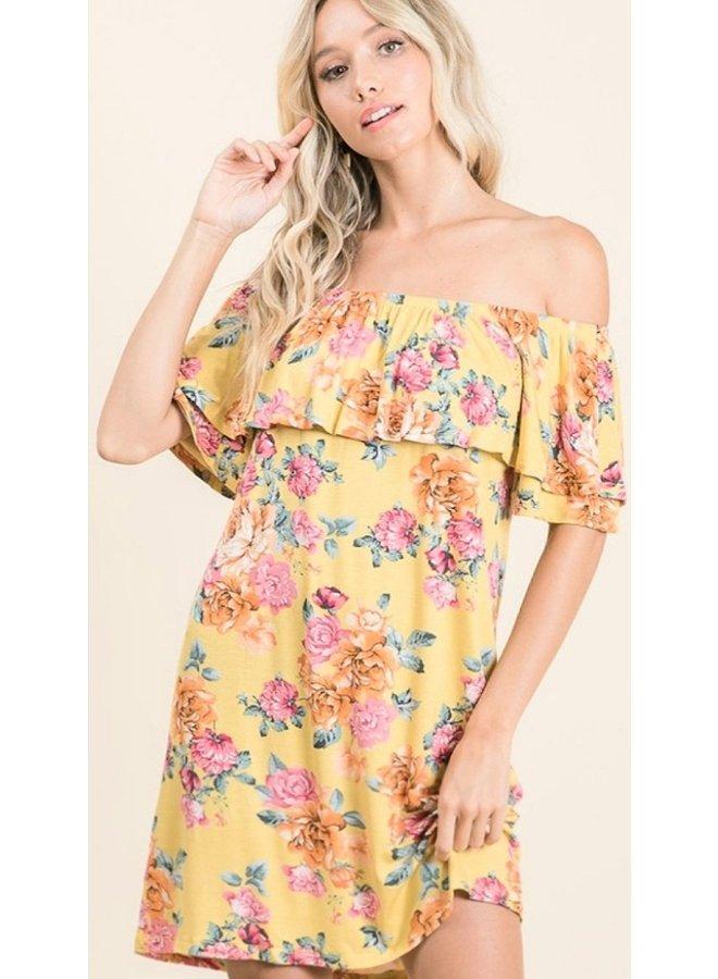 off shoulder floral print dress