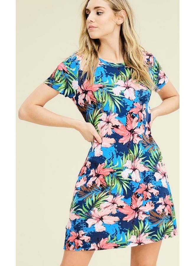 short sleeve  tropical print dress with pockets