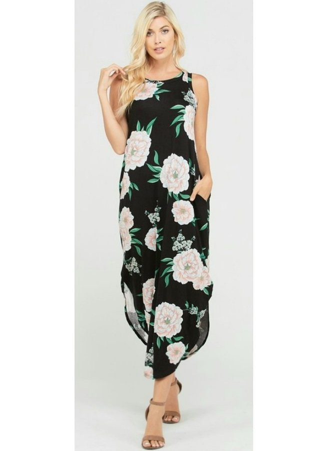 midi floral print dress with side pockets