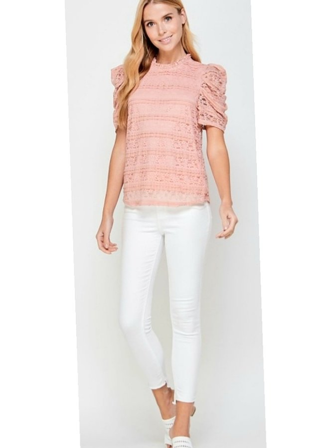 short sleeve lace blouse