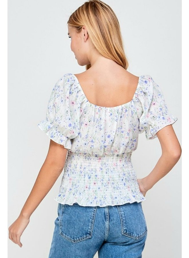 smocked waist blouse with sweetheart neckline