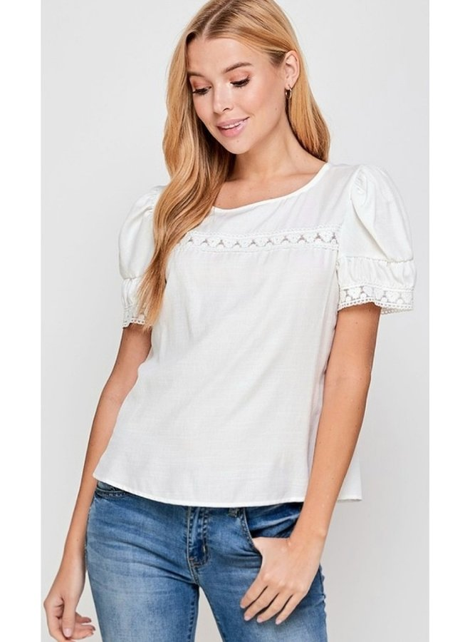 puff shoulder top with lace detail