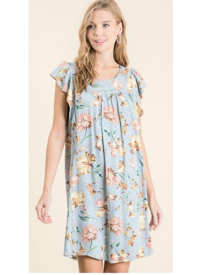 floral printed ruffle sleeve keyhole back dress