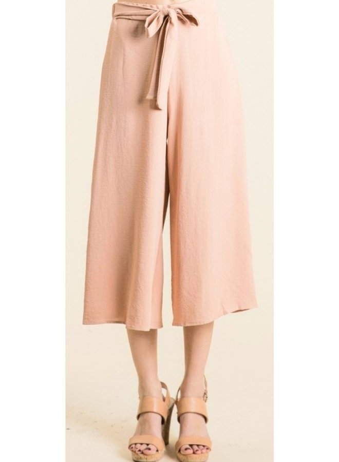 front tie cropped palazzo pants