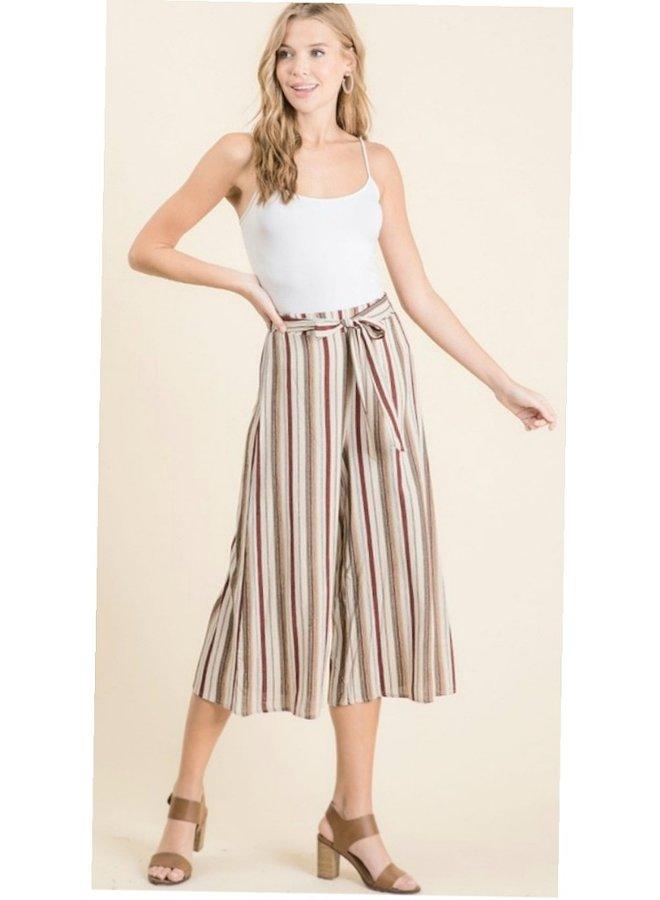 woven rayon striped palazzo pants