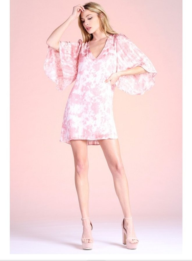 cotton candy tie dye satin petal sleeve dress