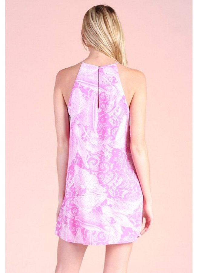 Venetian lace print shift dress