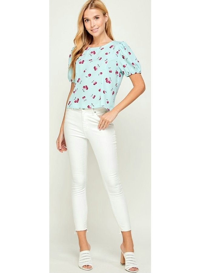cherry print crop blouse with tie detail back