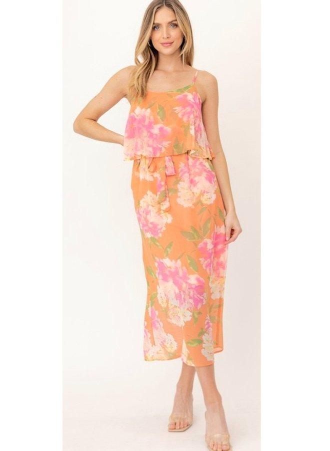 orange floral print maxi dress