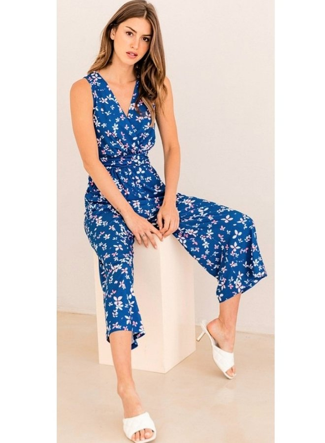 ditsy print cropped jumpsuit