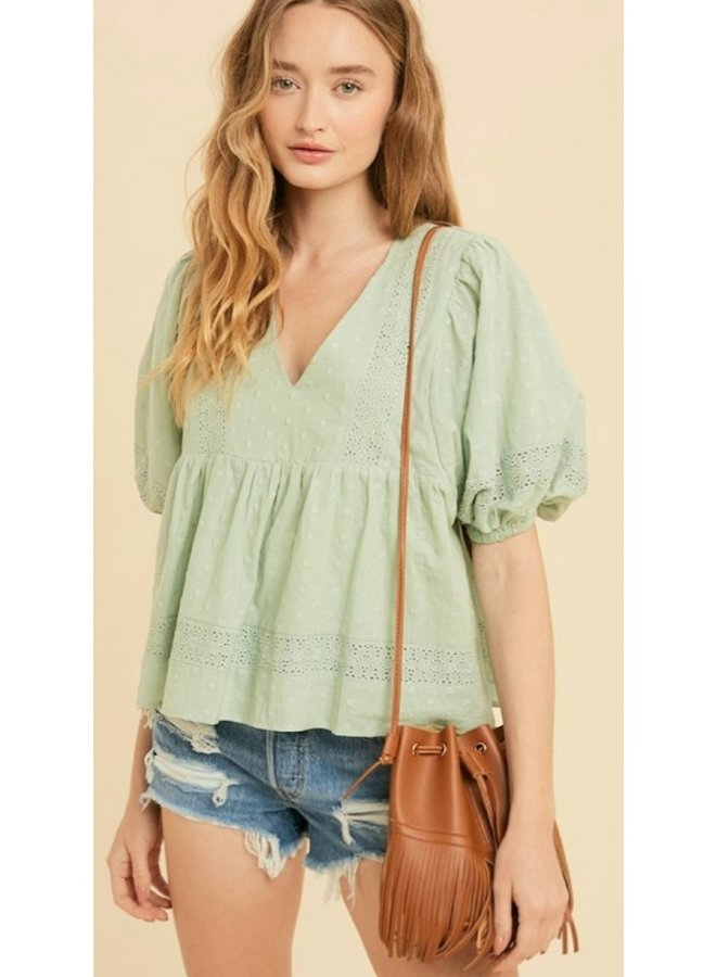 cotton embroidered babydoll top
