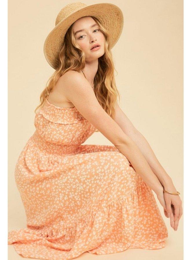 cotton ditsy print cami midi dress