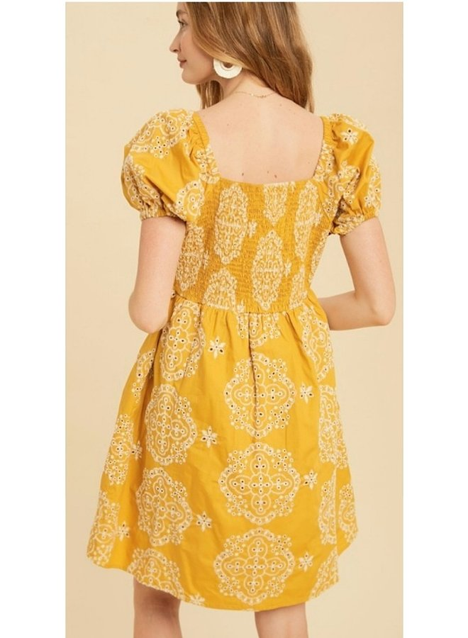 cotton embroidered puff sleeve mini dress
