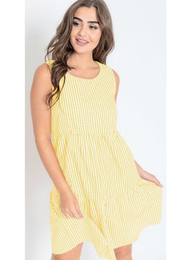 gingham sleeveless tiered midi dress