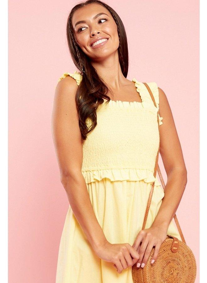 yellow shirred mini dress