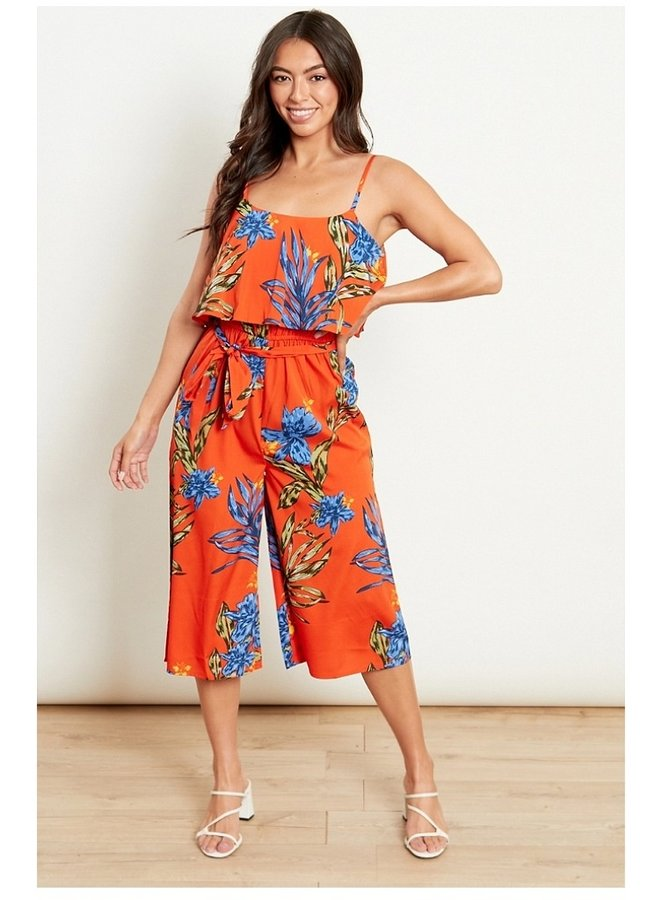 tropical print cropped jumpsuit
