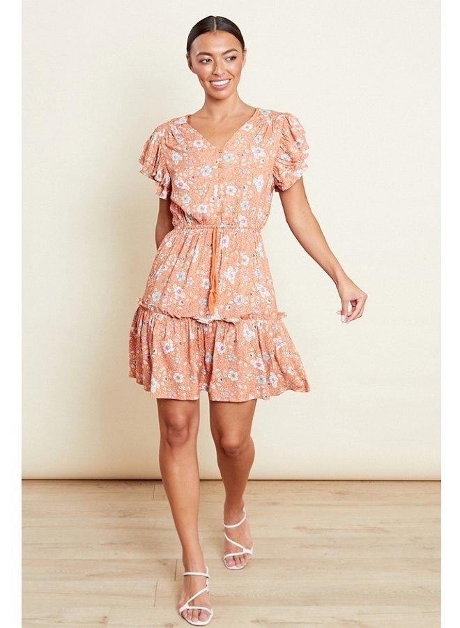 floral frill sleeve skater dress