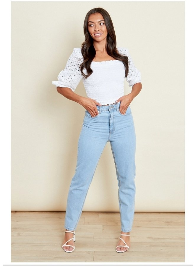 shirred top with contrasting sleeves