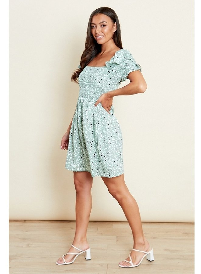 green ruffle sleeve shirred dress