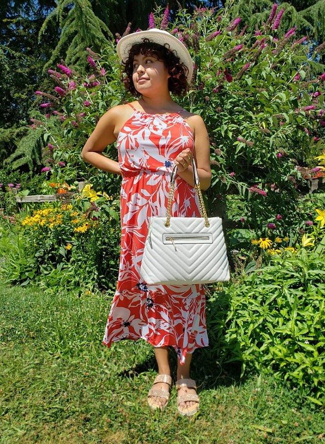 floral print midi dress with ruffle
