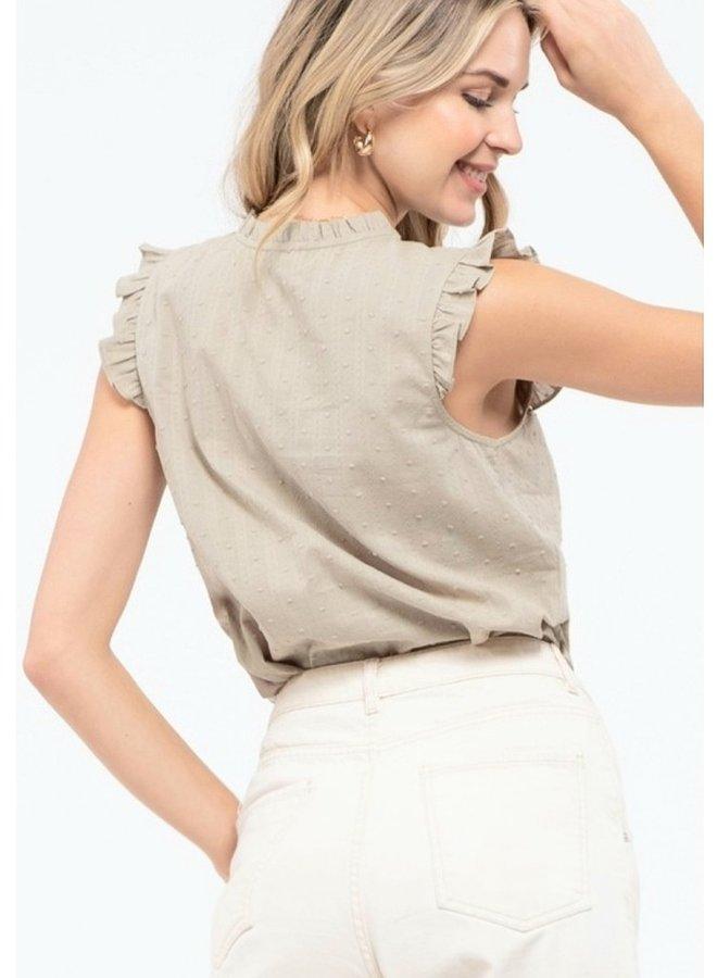 cotton short sleeve ruffle top