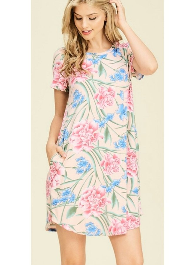 floral print short sleeve dress with side pockets