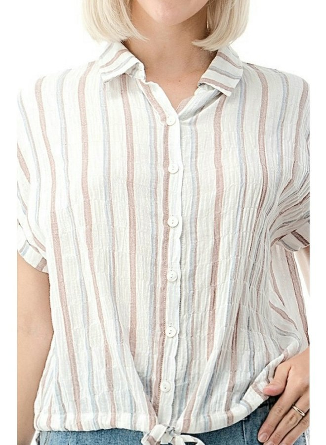 cotton rolled sleeve shirt with collar