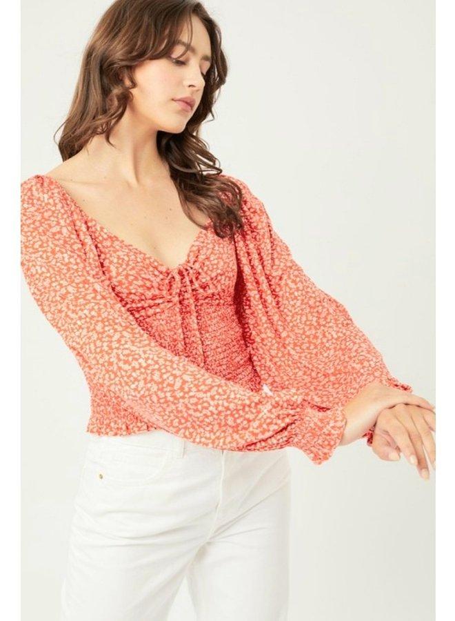 ditsy print floral long sleeve crop top