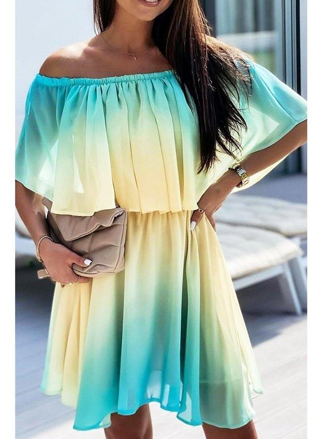ombre bardot dress
