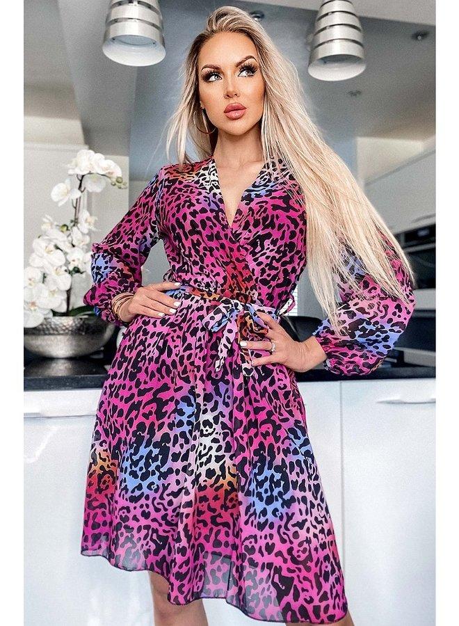 animal wrap chiffon dress