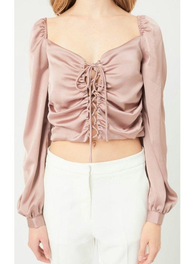 puff shoulder long sleeve corset crop  top
