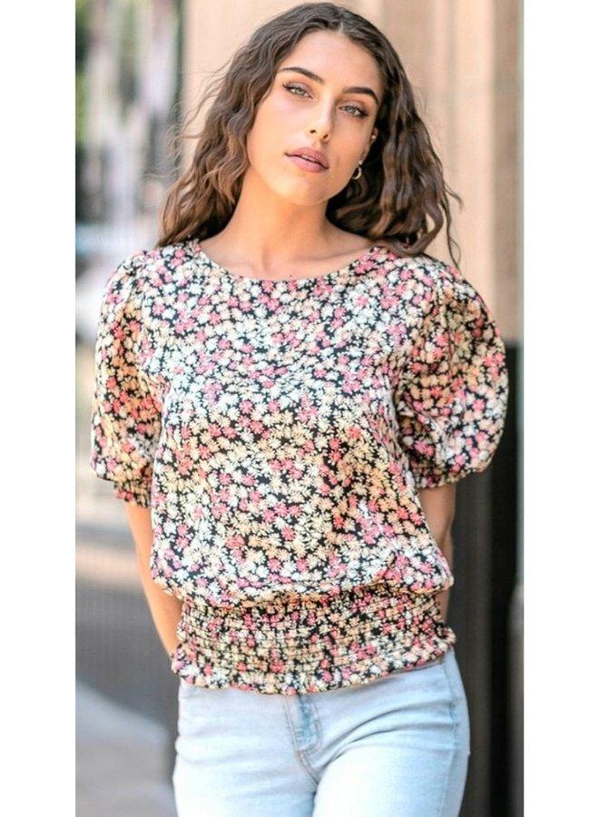 floral print silky top